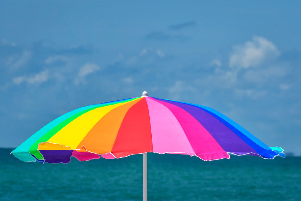 Beach Umbrella on Nokomis Beach, Florida, Gulf of Mexico