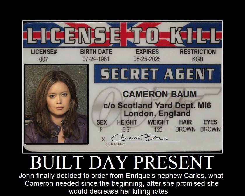 Summer Glau TSCC Cameron baum licence to kill built day