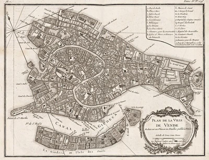 Jacques Nicolas Bellin - Plan de la ville de Venise (1764)