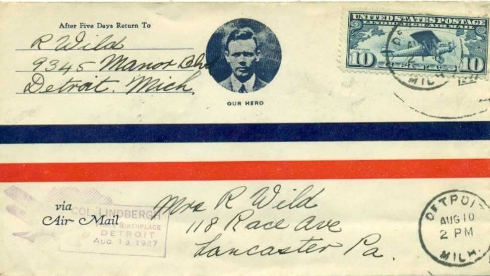 Airmail cover commemorating Charles Lindbergh's visit to his hometown of Detroit, Michigan, on August 10, 1927.