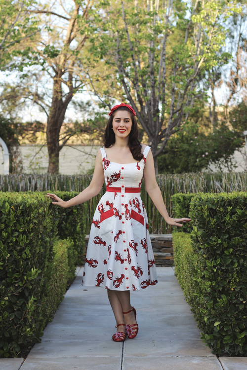 Collectif Mainline Sandrine Rock Lobster Swing Dress Lulu Hun Phoebe Lobster Sandals