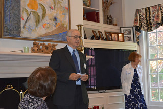 ScholarshipTea2017-2018_0041: Mr. Peyton giving out the RAMONA SEGREST PEYTON AWARD in memory of his wife to Jenna Venturi