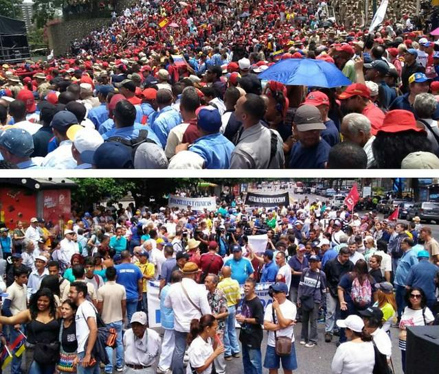 Na foto de cima, a esquerda venezuelana mostra sua força nesse Dia dos Trabalhadores - Créditos: Fotos: Brasil de Fato