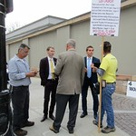 Two LDS missionaries debate anti-Mormon protesters outside Temple Square.