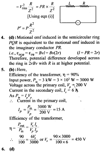 NEET AIPMT Physics Chapter Wise Solutions - Electromagnetic Induction and Alternating Current explanation 3.1,4,5,6