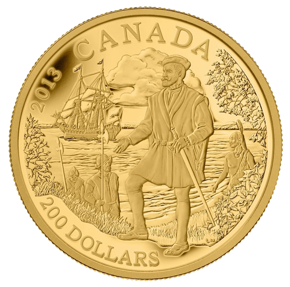 200-dollar gold coin issued by Canada to honor Jacques Cartier in 2013.