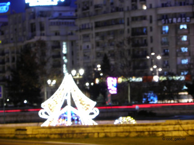 Winter holidays lights in Unification Square in Bucharest