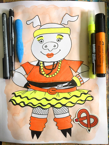 1980s Disco Pig - Art Journal Page