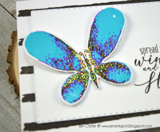 Jen Carter Spread Wings Faithful Flutterings Blue Glitter
