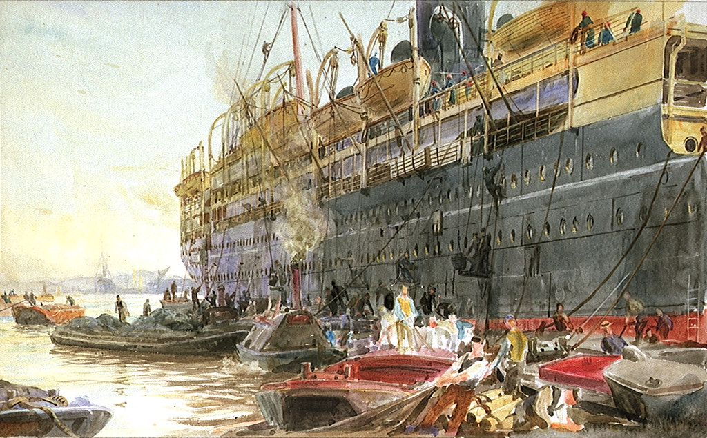 "The P&O liner ""Mooltan"" in the port of London (circa 1910)"