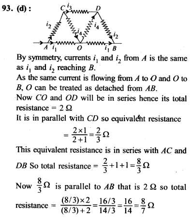 NEET AIPMT Physics Chapter Wise Solutions - Current Electricity explanation 93
