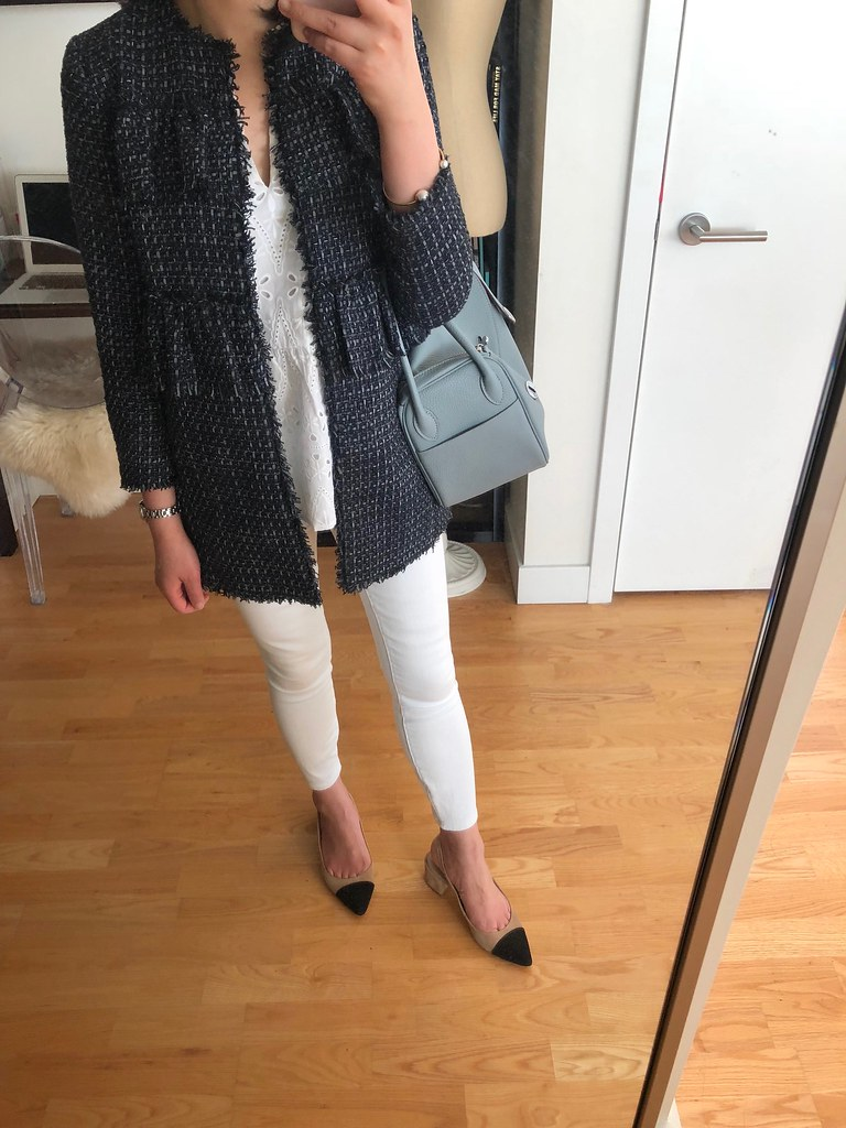 Ann Taylor Ruffle Tweed Long Jacket, size XXSP