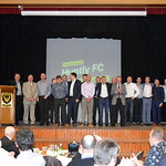 Compere Ian Thain introduces members of the 5 championship winning squads.