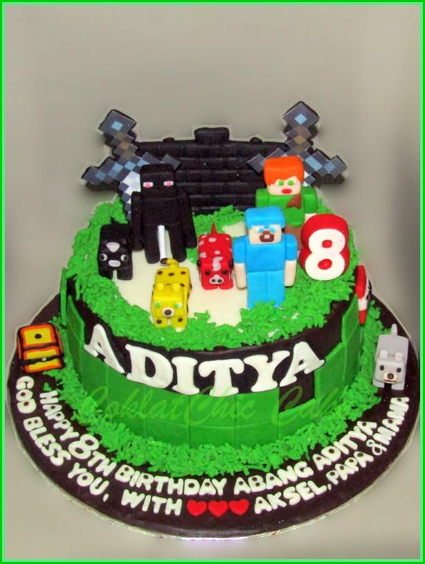 Cake Minecraft ADITYA 15 cm