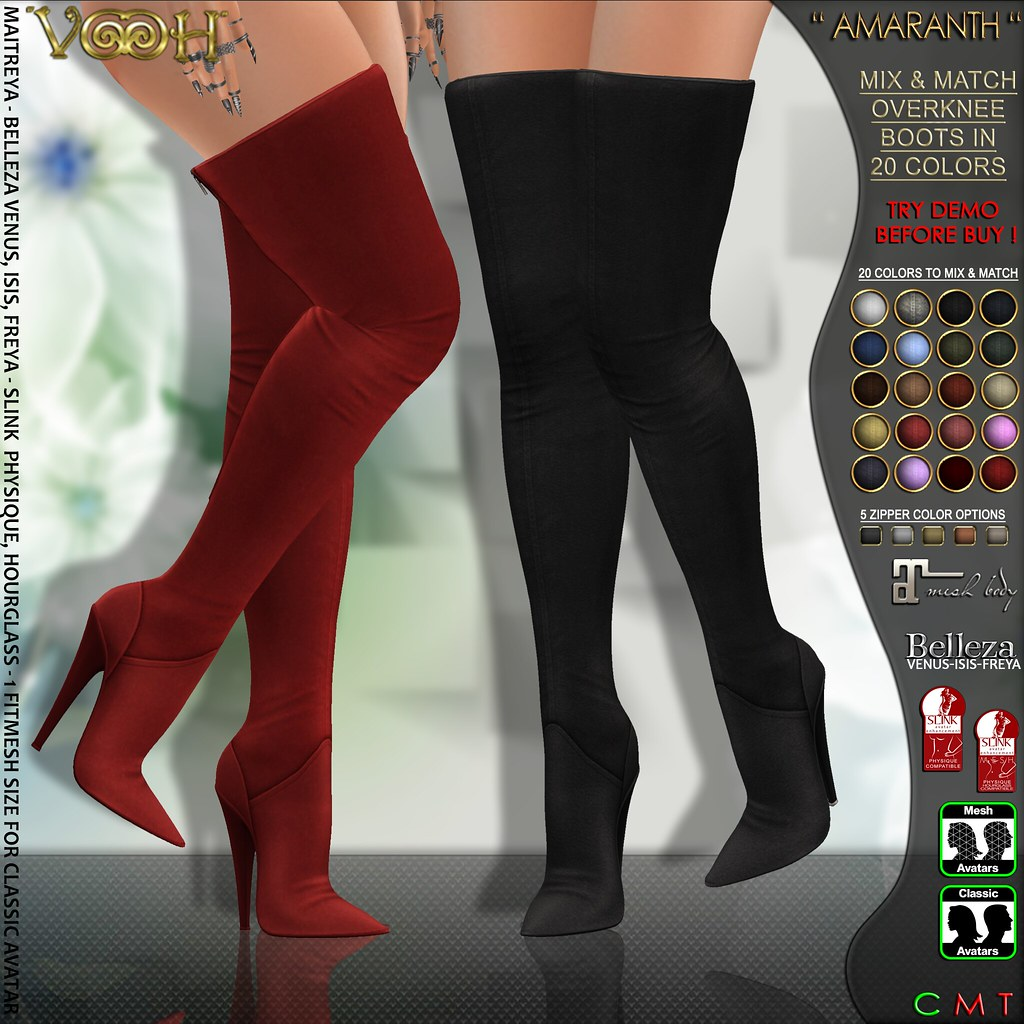 """ VOOH "" NEW RELEASE! AMARANTH MESH BOOTS V1 20 COLORS TO MIX & MATCH - TeleportHub.com Live!"