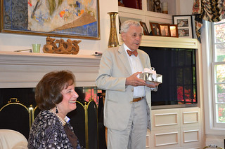ScholarshipTea2017-2018_0032: Mr. Hillier giving THE FLORENCE BELL HILLIER PRIZE recipient Leah Williamson a special gift.