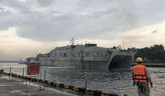 USNS Millinocket (T-EFP 3) departs Changi Naval Base in Singapore, May 19. (U.S. Navy)