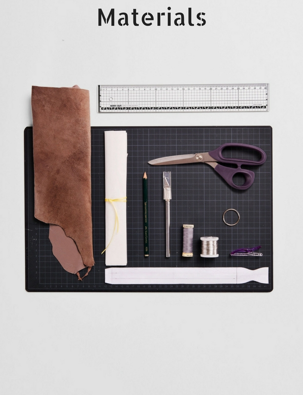 Diy leather braided keychain sewing blog burdastyle leather vliesofix yarn key ring precision knife cutting mat ruler scissors template download here for free fandeluxe Gallery