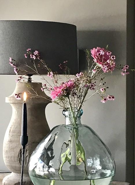Balusterlamp glazen fles kandelaar