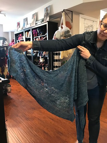 Draperstyle's came to LYS Day wearing this beautiful shawl!