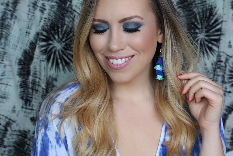 Barbie Doll Makeup Blue Eyeshadow Pale Pink Lipstick Blue Tassel Earrings Jackie Giardina Beauty Tutorial