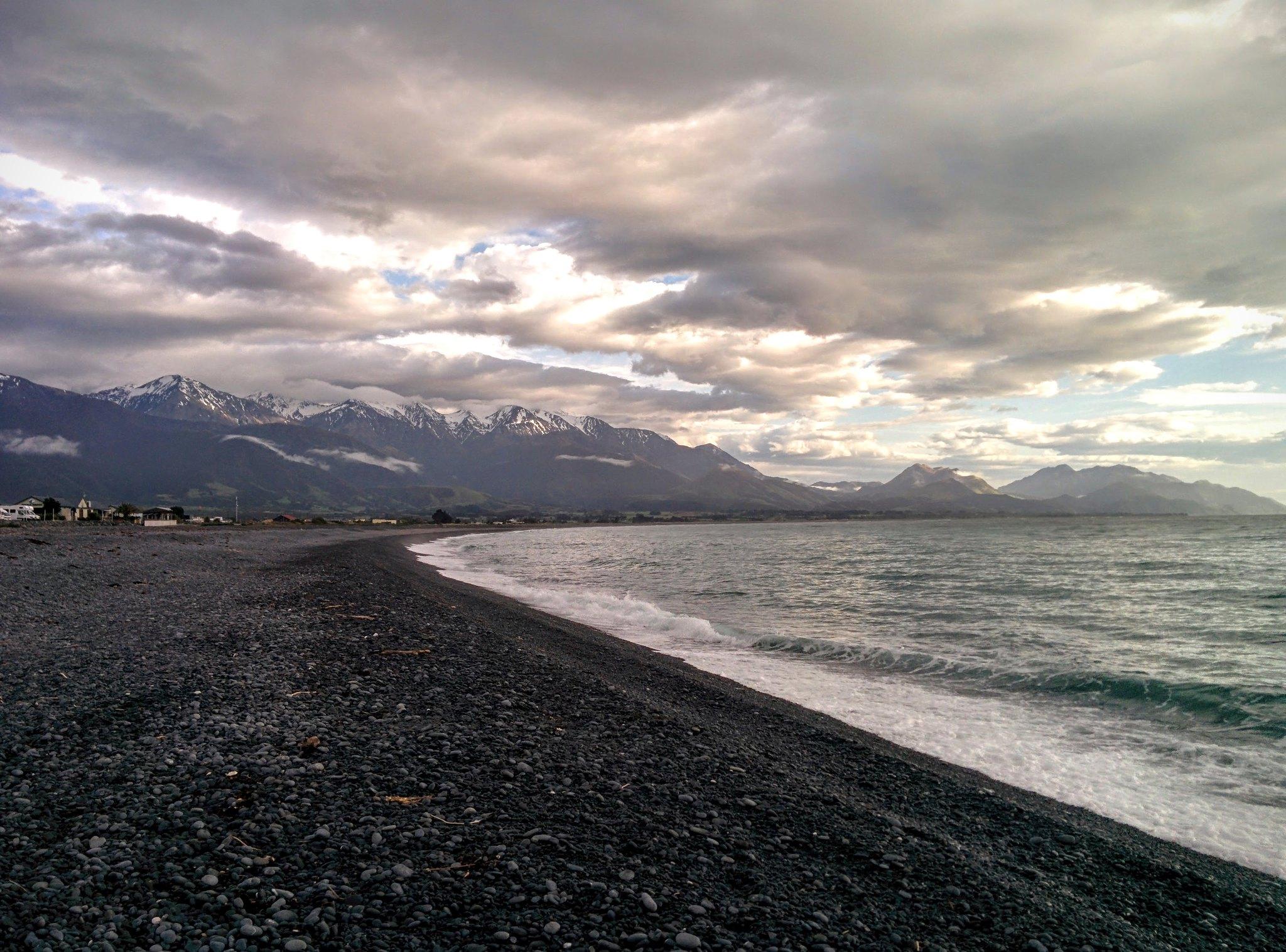 The snowy mountains over Kaikoura