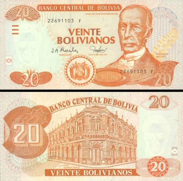 20 Bolivianos Bolívia 2001, P224