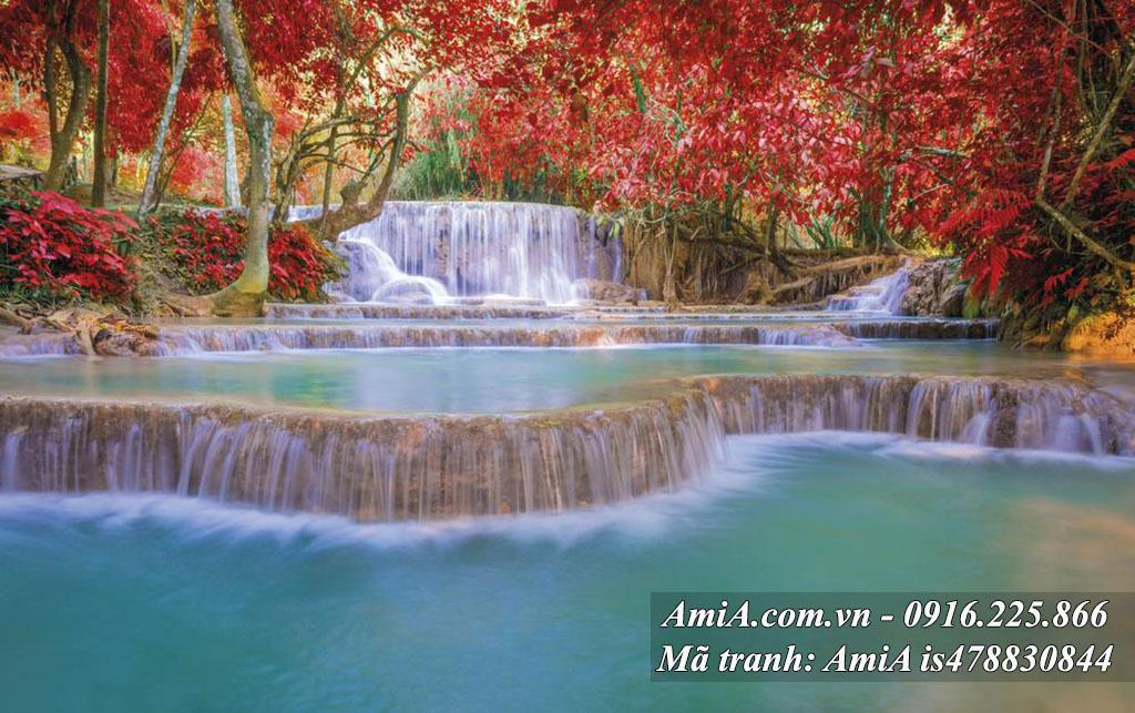 Tranh thác nước rừng cây thiên nhiên treo tường phòng khách đẹp