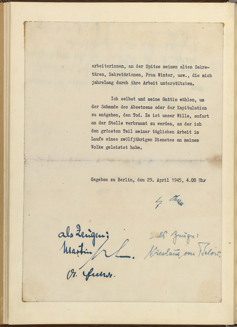 Last page of the last will and political testament of Adolf Hitler, signed at the Führerbunker in Berlin on April 29, 1945.