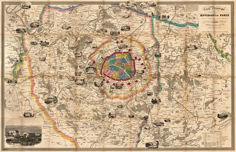 Alexandre Vuillemin - Carte Pittoresque Des Environs de Paris de ses Fortifications et forts detaches (1843)