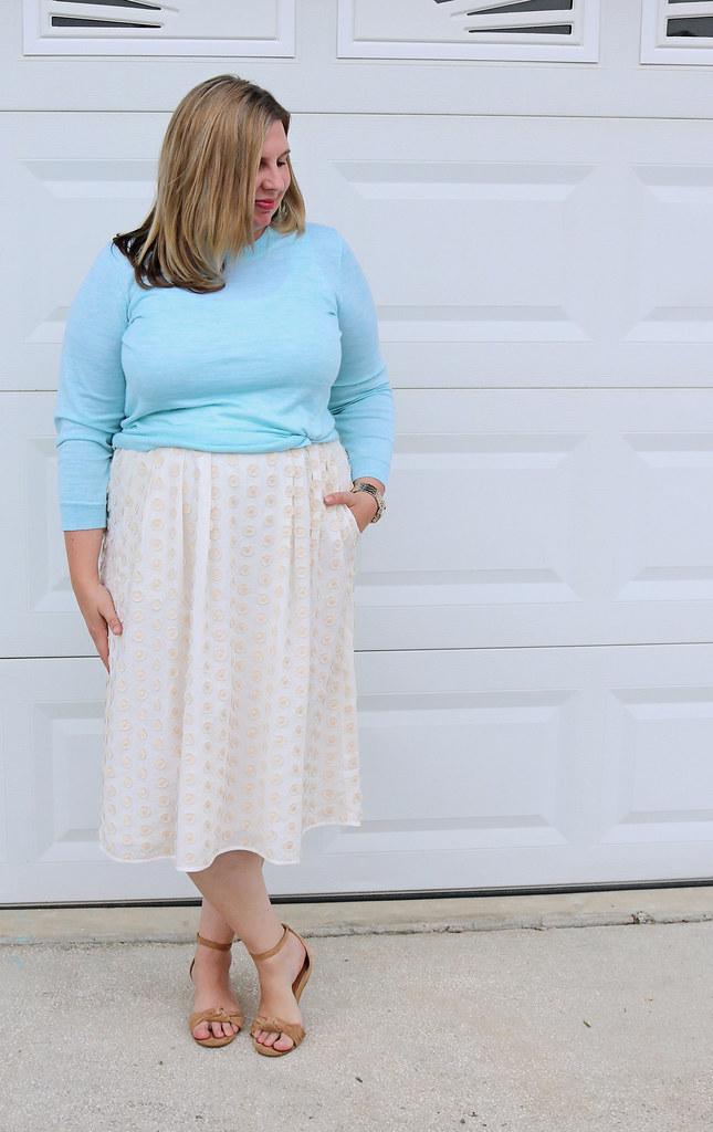 cream dot midi skirt, mint tippi 2