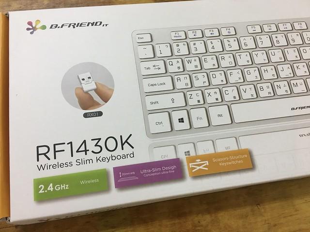 外盒是展示白色款,不過我買的是黑色的@B.FRIEND RF1430K 2.4G無線鍵盤