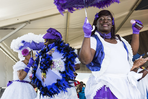 Big Chief Kevin Goodman & the Flaming Arrows perform during Jazz Fest 2018 day 3 on April 29, 2018. Photo by Ryan Hodgson-Rigsbee RHRphoto.com