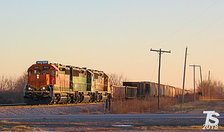 BNSF 1510 Leads NB Spring Hill Local Bonita, KS 12-29-12