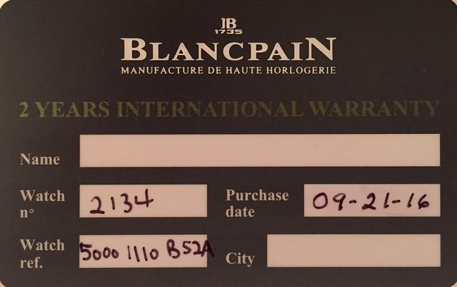 Blancpain Bathyscaphe - Warranty Card (front)
