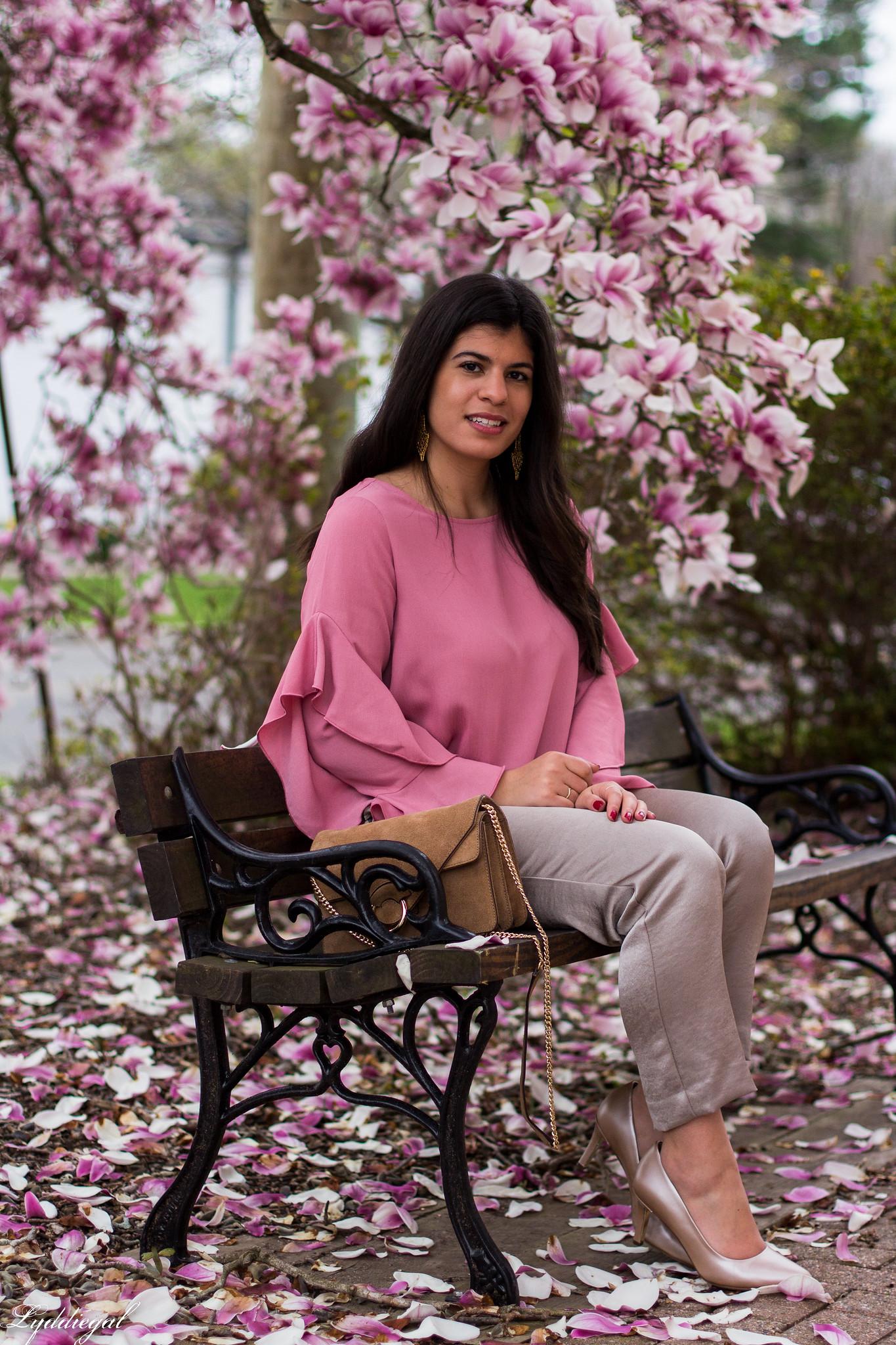 pink ruffled sleeve blouse, satin pants, suede ring bag-6.jpg