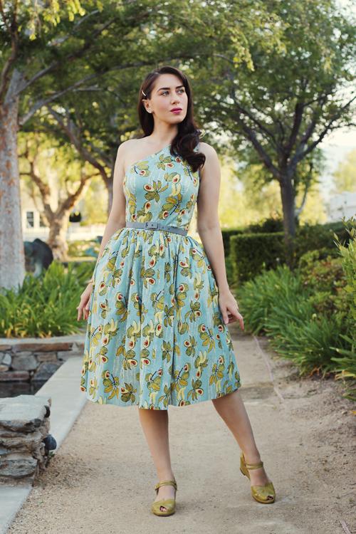 Bettie Page Belinda Dress in Avocado Remix Vintage Shoes Picasso in Avocado