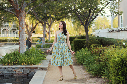 Bettie Page Belinda Dress in Avocado Remix Vintage Shoes Picasso in Avocado