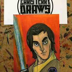 "Reposting @christerrydraws: ⠀ ...⠀ ""#StarWarsADay day 8 Ezra from rebels. It's on a sketchcard done with ink and @copicmarker from @otakufuel. dm me if interested in purchasing #starwarsart #starwars #christerrydraws #sketchcard #copicmarkers #marvel #com"