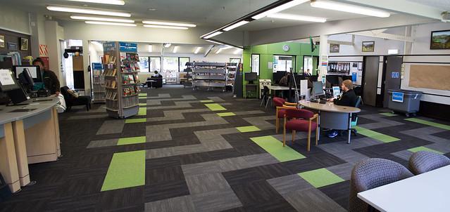 Wainuiomata Library's New Carpet Tile Installation Panorma