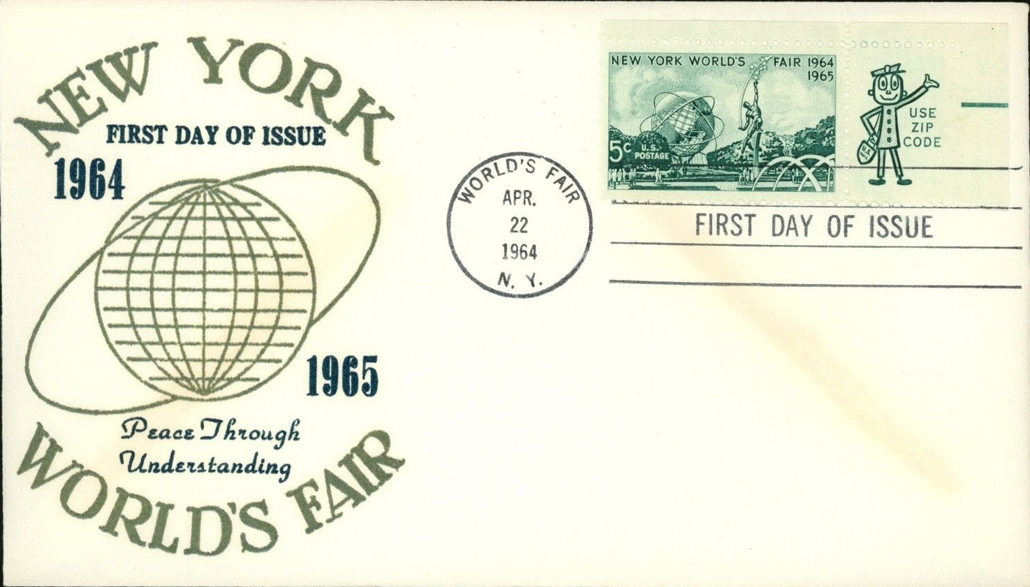 United States - Scott #1244 (1964) -first day cover; unknown cachet; Mr. Zip margin; handstamp cancellation