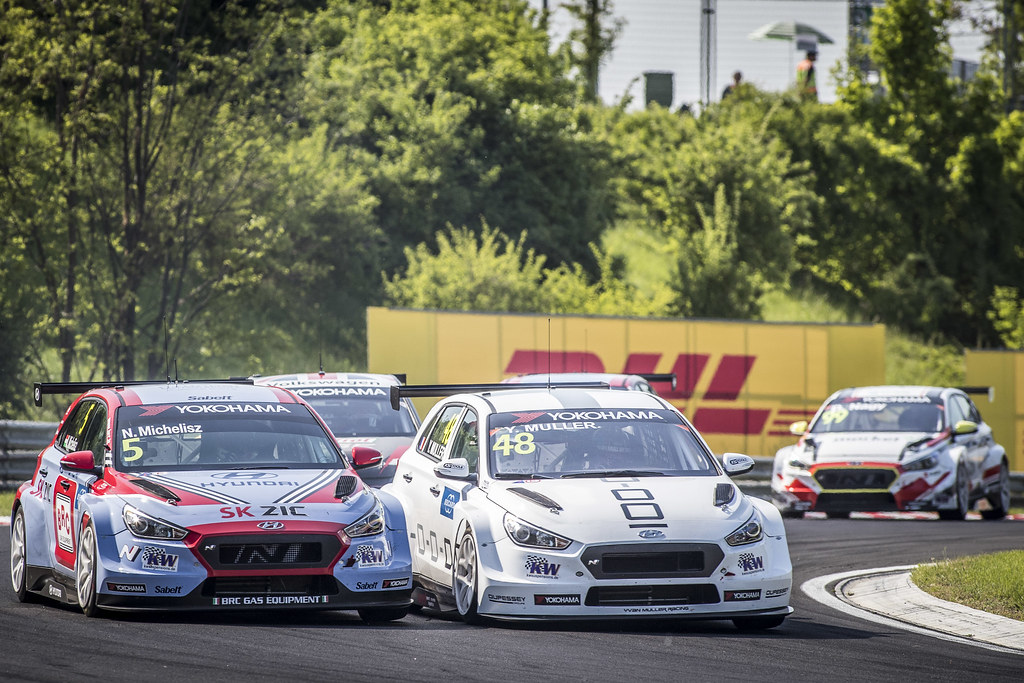 05 MICHELISZ Norbert (HUN), BRC Racing Team, Hyundai i30 N TCR, action 48 MULLER Yvan (FRA), YMR, Hyundai i30 N TCR, action during the 2018 FIA WTCR World Touring Car cup, Race of Hungary at hungaroring, Budapest from april 27 to 29 - Photo Gregory Lenormand / DPPI
