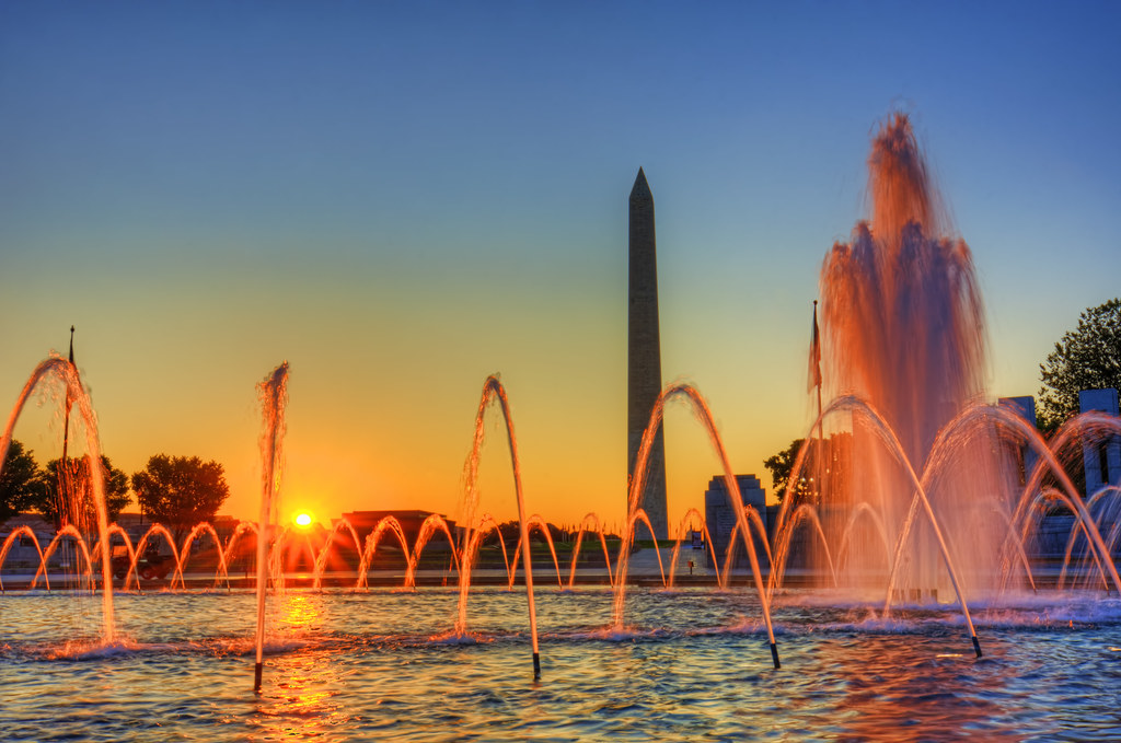 WWII Memorial & Washington Monument sunflare