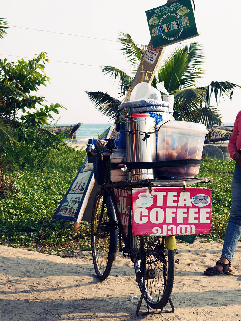 tea coffee palm tree kovalam beach bicycle mobile_effected