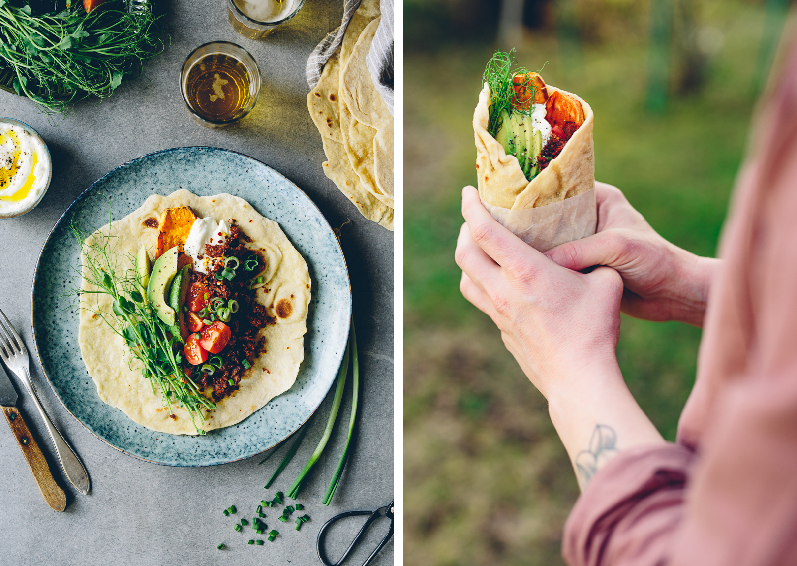 Spelt Tortillas with Tandoori Pulled Oats, Sweet Potato, Avocado & Yoghurt | Cashew Kitchen