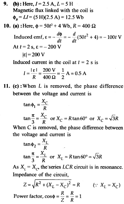 NEET AIPMT Physics Chapter Wise Solutions - Electromagnetic Induction and Alternating Current explanation 9,10,11