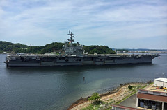 USS Ronald Reagan (CVN 76) departs U.S. Fleet Activities Yokosuka, May 11. (U.S. Navy/Daniel Taylor)