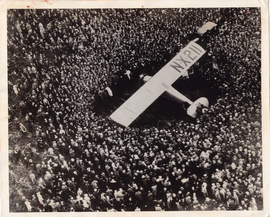 Charles A. Lindbergh lands his Spirit of St. Louis amidst yet another huge crowd at Croydon Airfield in South London on May 29, 1927.