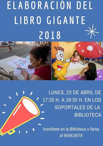 Cartel libro gigante por el Día del Libro en la Biblioteca
