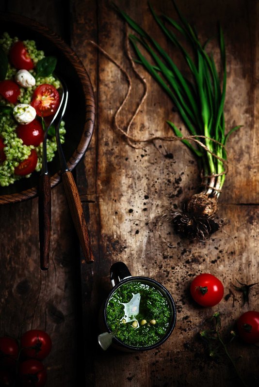 Israeli couscous Salad  with pesto.